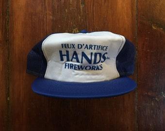 Vintage Feux D'Artifice Hands Fireworks Trucker Hat Snapback Baseball Cap