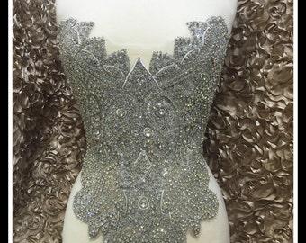 Designer Full body Rhinestone Applique, Beaded Wedding Dress Applique. Swarovski Shine #0520