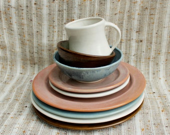 Mix and Match: Plates, Bowls, or Mugs-Individual Dinnerware Pieces-Handmade Stoneware Pottery