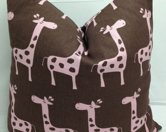 """Kids decorative pillow 16"""" square, chocolate brown and pink, stretched giraffe gizella, RTS"""