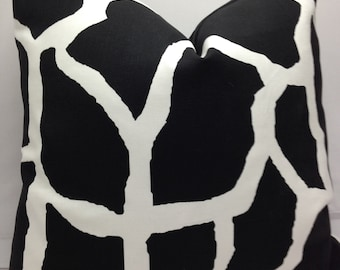"Lot of 4 pillow covers, 18"" x 18"" cushion covers, giraffe, black and white, cotton,"