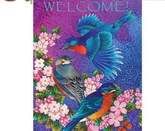 Bluebird Blossoms Flag,Birds Cherry Blossom Garden Flag,Bluebird Blossoms Garden Flag,Welcome Garden Flag,Welcome Sign Flag