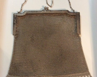 50% off 1800s Antique Evening Bags Solid Silver Large Victorian Mesh Purse