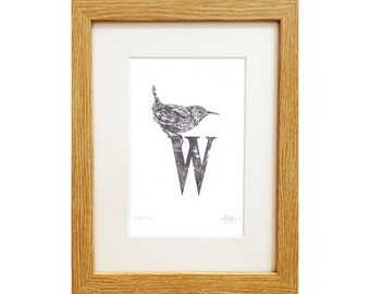 W for Wren print - A5