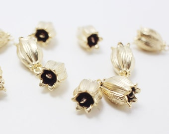 P0211/Anti-Tarnished Matte Gold Plating Over Brass/Lily Flower bud Pendant Connector/15x8mm/4pcs