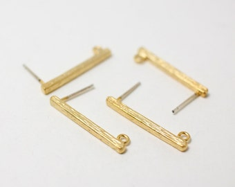E0017/Anti-tarnished Matt Gold Plating Over Brass+Sterling Silver Post/Bar Earrings/2x22mm/2pcs