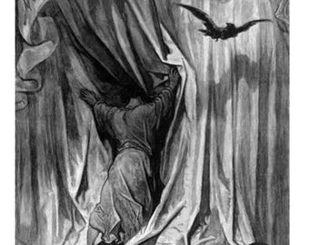 Poe The Raven Nevermore frameable print of Dore