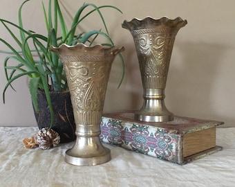 Vintage Brass Vase Pair / Tall Vintage Vases / Brass Vase / Vintage Vase / Pair of Brass Vases / Tall Brass Base / Pair of Vases / Vases