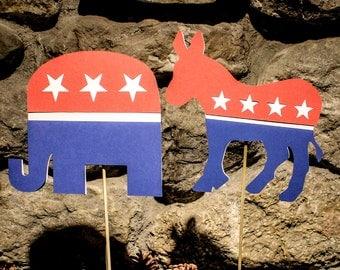 Political centerpiece Sticks Democrat or Republican and Team CUT OUT