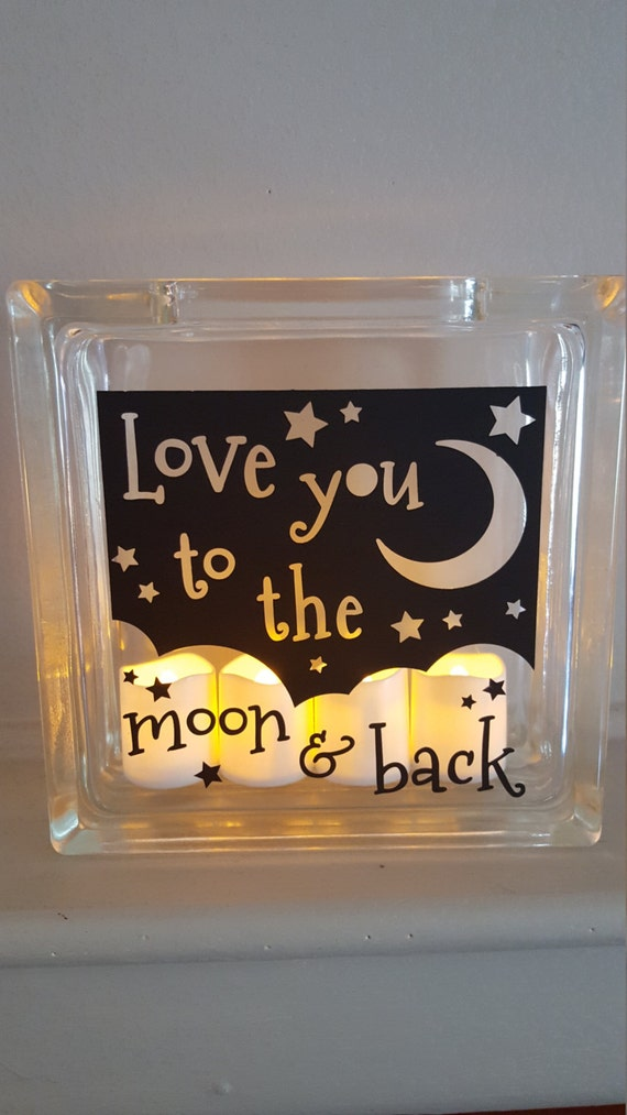 Decorative frosted glass block with i love you to the for Clear glass blocks for crafts