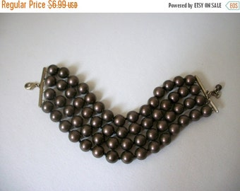 ON SALE Vintage Bronze Multi Strand Bracelet 841