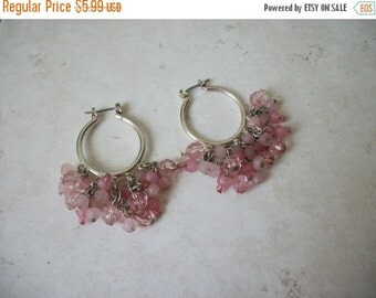 ON SALE Vintage Silver Tone Shades Of Pink Plastic Beads Earrings 1464