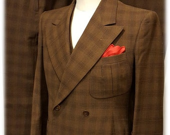 Incredible Gentlemens 1930's 4 Piece Double Breasted Belted Back Suit with Two Trousers & Vest L@@K!!!!