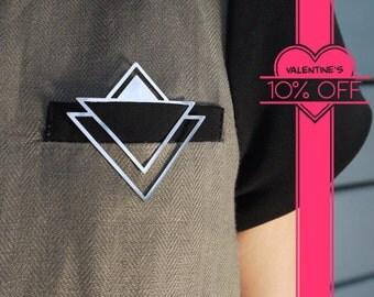 triangle unique modern chic brooch pin, delicate geometric handmade designer jewelry