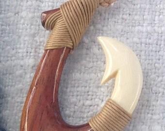 Fishhook Hawaiian  koa wood & ivory