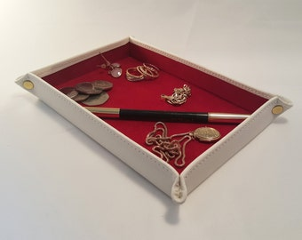 DORNEY Cream Leather with Red suede lining Jewellery, Coin Tray for travelling or home.