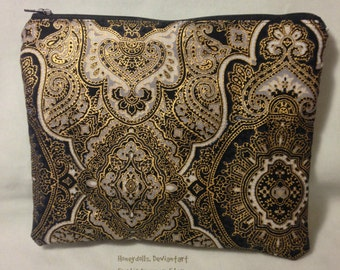 Gold Floral Cosmetic Pencil Zipper Pouch Hand Bag