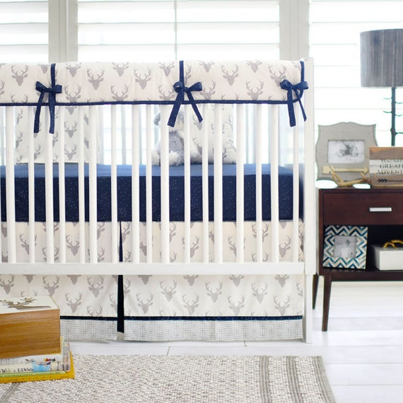 Deer Crib Bedding For Boys : Silver and navy deer head woodland crib by