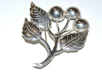 Vintage Sterling Silver Lang Cherry Brooch