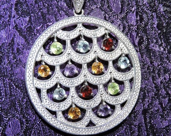 Multi Stones Circle Pendant Necklace Sterling Silver
