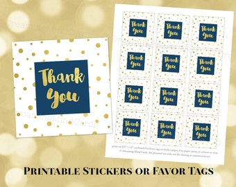 Printable Thank You Favor Tags Gold Confetti Navy Blue for Wedding, Baby Shower, Bridal Shower Instant Digital Download