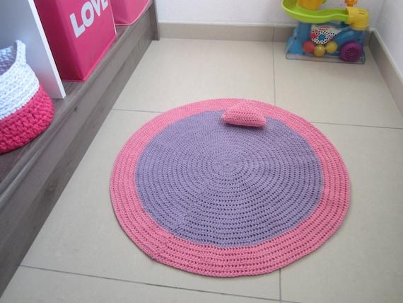 Baby Girl Rug Baby Girl Bedroom Rug Round Crochet Rug Pink