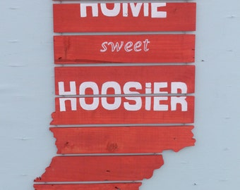 Slatted Indiana State, Indiana Hoosier Sign