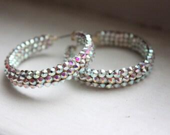 Swarovski Rhinestone Hoop Earrings in Crystal AB