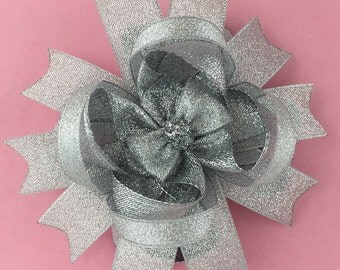 Silver hair bow-over the top Silver stacked bow-silver boutique hair bow-silver  headband-silver sparkling bow-large silver  hair bow-silver