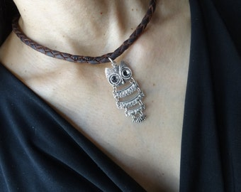 owl genuine leather necklace custom womens braided leather necklace 4 strand braid barn owl pendant black brown leather for womens girls