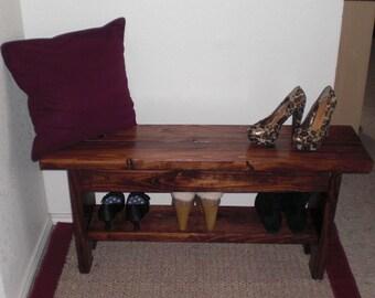 Red Oak Entryway Bench with Shoe Storage Shelf / TV Stand with Shelf