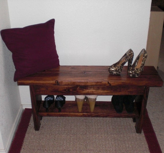 Red Foyer Bench : Red oak entryway bench with shoe storage shelf tv stand