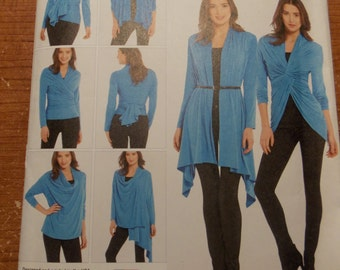 Sewing pattern Simplicity 1065 Misses' knit wrap and tie cardigan with multiple variations size S to XL new uncut