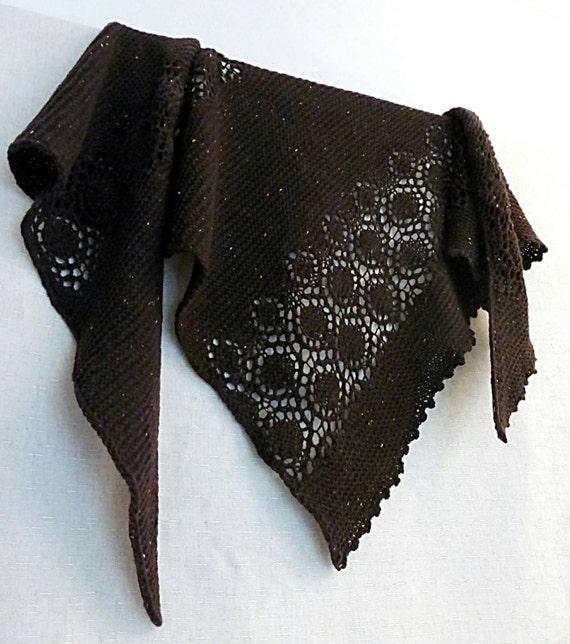 Ready To Ship! Tweed Lace Shawl. Knitted Wool Shawl. Hand Knit Shawl. Free Shipping. Knit Triangular Shawl. Women Scarf