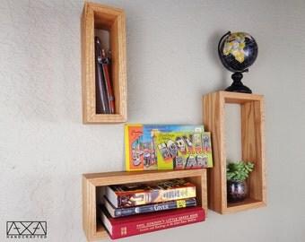 SET of 3 Rectangle Shelves made from Solid Hardwood, bathroom decor