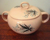 Vintage Pink Crooksville Carnation Remembrance Sugar Dish with Cover