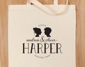 Custom Wedding Logo Tote Bag – Silhouette – Wedding Date – Wedding Party – Bride and Groom – Bridesmaids – Wedding Day Tote – Wedding Emblem