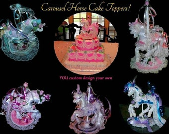 Handcrafted Carousel Horse Cake Toppers