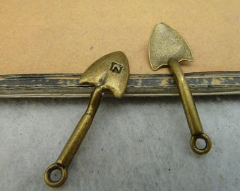 BULK 30 Spade Charms Antique Bronze Tone Garden Shovel 3D - WS863