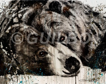 Artwork bear on aluminum, Image of the original canvas