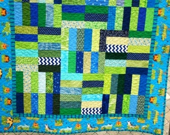Blue and Green Jungle Animals baby quilt