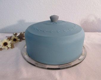 Vintage Aqua Cake Plate