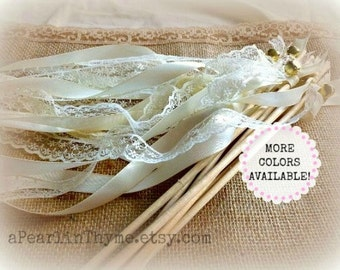 Vintage INSPIRED Ivory and Lace Wedding Wands-You CHOOSE quantity-More Ribbon COLORS Available!!!!