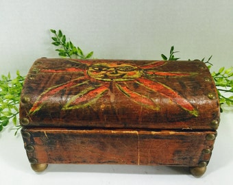 Unique Rare Wood Leather Domed Chest Trinket Box Old