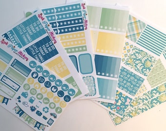 Sunny Meadow (9 Sheets weekly decorating kit) For your Erin Condren Life Planner!