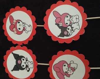 12 Hello Kitty or  My Melody cupcake toppers