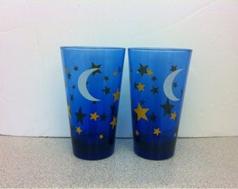 Set of two Cobalt Blue Glass Anchor Hocking Drinking Glasses Stars and Moon.