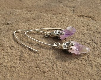 Electroformed silver plated earrings with raw Indian amethyst | Silver plated amethyst earrings | Silver plated earrings with amethyst