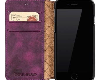 iPhone 6S Leather Case, iPhone 6 Leather Wallet Case, Perfect gift for Essential Cards and Cash, Book Style in AnticPurple