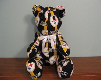 Pittsburgh Steelers Bear-Steelers emblem - nfl bear stuffed bear football bear handmade bear custom bear nfl teddy bear